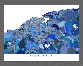 Havana Map Print, Havana Cuba, Map Art Prints, Caribbean