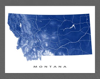Montana Map Print, Montana State Art, MT, USA