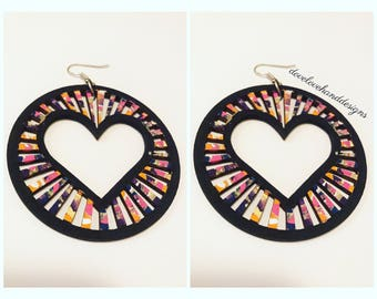 Wooden Earrings - Multi-Color Heart