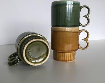 Three Fabulous 1970's Drip Glaze Mugs Vintage  Mugs Retro Kitchenware
