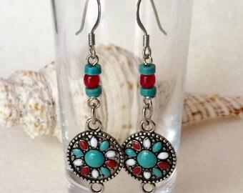 Southwest Earrings Turquoise Red Earrings Turquoise Dangle Earrings Southwest Statement Earrings Boho Dangle Earrings Turquoise Boho Earring