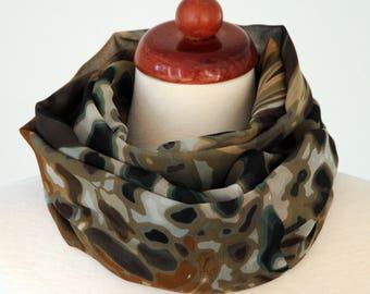 Tube scarf loop scarf chiffon olive green beige brown black écharpe tube infinity scarf