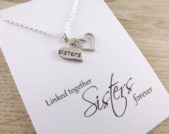 Sterling silver sisters pendant~sister heart necklace~silver pendant~sterling silver charm jewellery~inspiring silver heart charm necklace