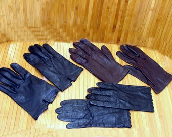 Vintage leather gloves lot-nice ladies leather gloves-old black leather gloves-womens leather gloves-brown leather gloves-kid leather gloves
