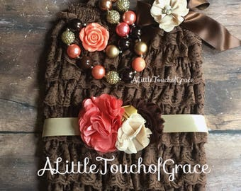 Petti romper set .BROWN coral gold beige. Coral brown headband and sash, baby outfit,