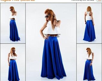 ON SALE Long skirt / Maxi blue skirt / Woman high wasted skirt /Elegant circle skirt