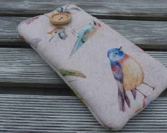 Birds iPhone cover, iPhone 6s Pouch, iPhone 7 sleeve, iPhone SE sleeve, iPod 6G Sleeve, iPhone 7 Plus, iPhone 5, iphone sleeve, Birds Fabric