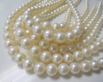 9-12mm Round White South Sea Necklace Strands