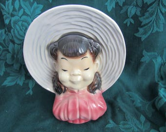 Vintage Royal Copley Girl with Pigtails Wall Pocket Planter