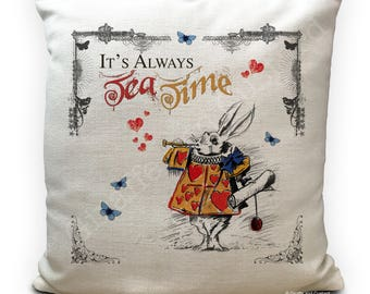Alice in Wonderland Cushion Cover - Vintage White Rabbit Always Tea Time with Hearts Tabard - 40cm 16 inch