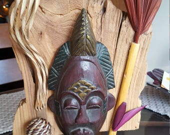 African Mask on Elm wood metal stand
