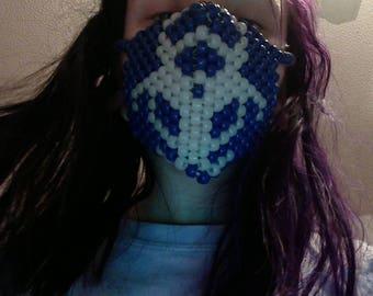 trippy biohard toxic waste symbol kandi mask glowing symbol