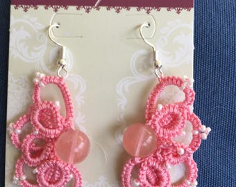 Handmade earrings-especially pretty tatted lace and beads