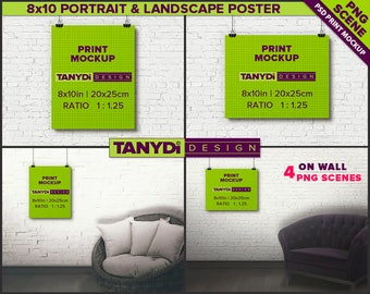 8x10 Poster Photoshop Print Mockup P810-W1 | Portrait & Landscape Poster on Interior wall | Unframed Print | Black binder clips