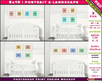 Nursery Interior Photoshop Print Mockup 810-N10 | Portrait & Landscape Set of 4 White Frames | White crib | Smart object Custom colors