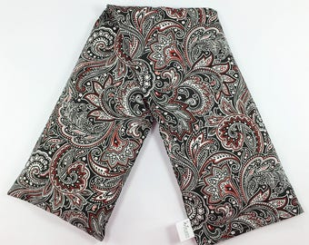 Removable Washable Cover / Black and Red / Corn Neck Wrap / Paisley