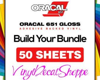 Oracal 651 Gloss, 50 Sheet Bundle, Oracal Lot, 12x12 Oracal Bundle, Oracal Vinyl Sheets, Wholesale Oracal Sheets, Oracal 651, Vinyl Decal