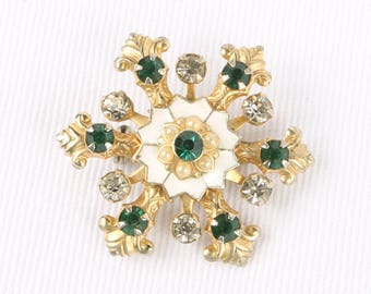 """1940's Unusual Green & Clear Rhinestone, Faux Pearls, White Enamel on Gold Tone Snowflake Pin, Excellent Cond., 1-3/8"""" Diameter."""