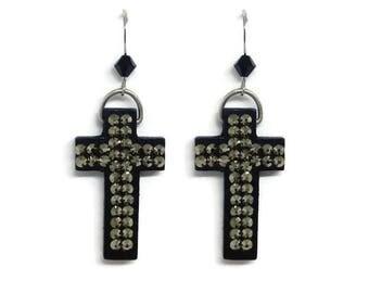 Swarovski Crytal Cross Dangling Earrings