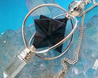 BLACK TOURMALINE Spinning Merkaba Star Dowsing PENDULUM with Crystal Quartz Point and Velvet Storage Pouch, Divination