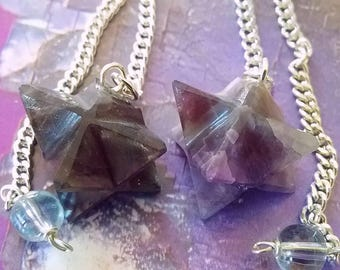 2 Hand Carved AMETHYST MERKABA Star PENDULUM with Chains and 2 Velvet Pouches, Sacred Geometry Divination