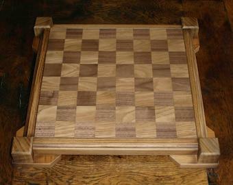 Wooden handmade oak & walnut chess board