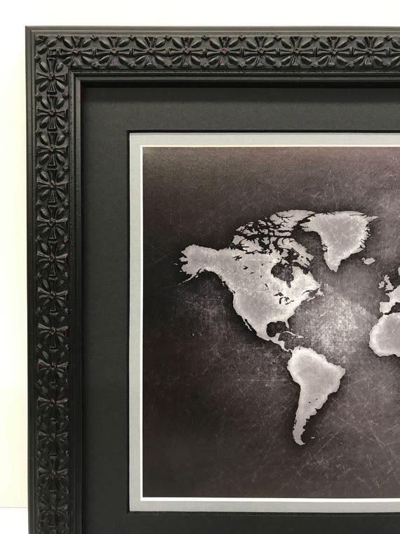 Framed World Map World Map Art Black  Gray World Map