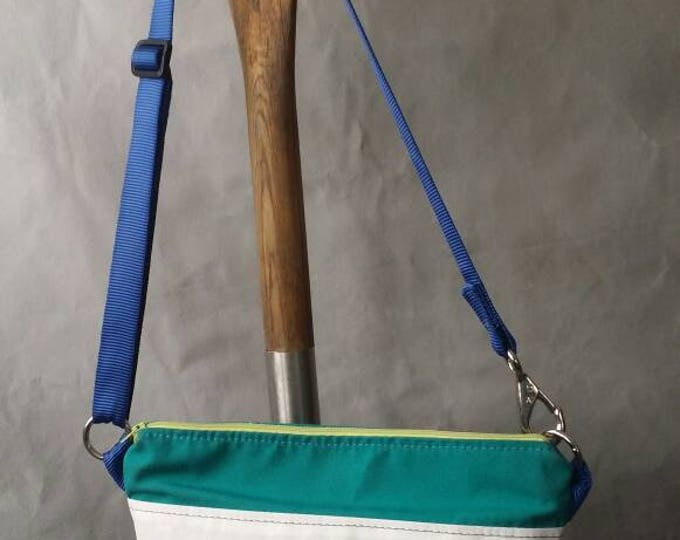 Sailcloth Purse, handbag, teal canvas and lime green zipper, blue webbing handle
