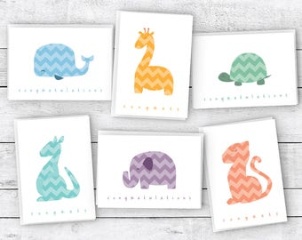 Chevron Animals Around the World Baby Congrats Cards - 48 Cards & Envelopes