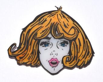 Cute Girl Shrink Plastic Brooch, Retro Shrink Plastic Brooch, Super Dooper Girl Brooch, Fun Retro Accessory, Handmade Brooch, Pretty Brooch