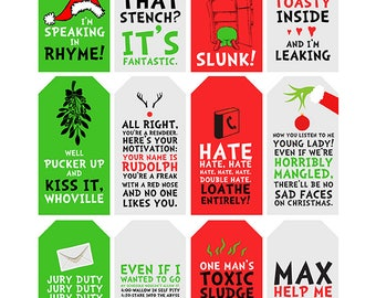 Grinch Quote Gift Tags | Printable | Typography