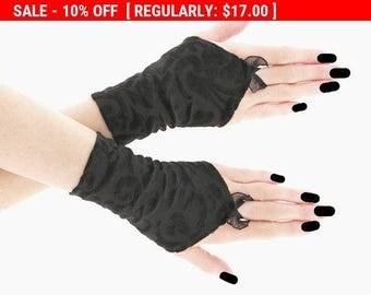 Black short fingerless gloves wrist warmers gothic burlesque vintage bohemian womens evening gloves, dancing glove goth lolita, romantic  55