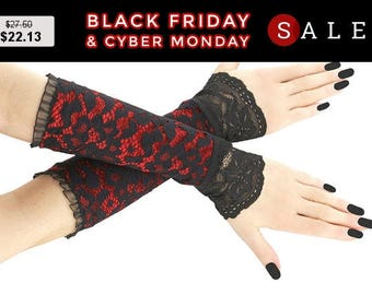 Fingerless gloves, arm warmers black red lace gloves, gothic burlesque, goth lace glove, wedding bridal gloves, womens evening gloves 2T