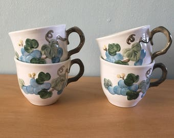 Four sweet Metlox Poppytrail blue grape and green leaf design on vintage creamy ceramic mugs / vine handle!