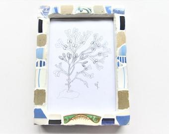 Cornishware Sea Mosaic Frame. Mosaic picture frame. Nautical decor. Pen & ink signed print! Vintage china. Seaweed art. Blue stripe mosaic