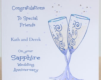 Lovely Personalised Handmade Sapphire Wedding Anniversary Champagne Glasses design Card. Mum Dad, Grandmother Grandfather,Aunt Uncle,Friends
