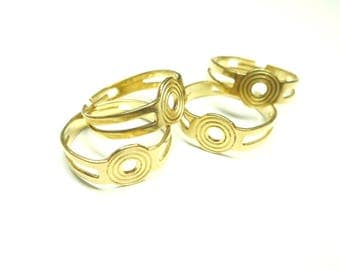 Fine ring, adjustable, in brass, with support cabochon, 20x9 mm, internal: 19 mm