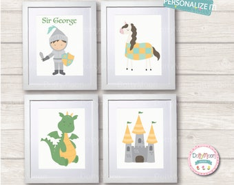 Dragon and knight, 4 prints, Childrens / Art Nursery Print,  Wall Decor,  Wall Art. Can be personalised with a name.