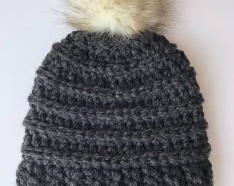 Slightly Slouchy Beanie with Faux Fur Pom in Charcoal