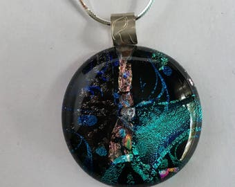 Black and Green Swirls - Dichroic Glass Necklace