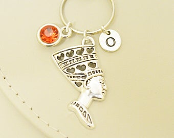 Egyptian queen, Egyptian Jewelry, Egyptian Keyring, Nefertiti Key chain, Pharaoh charm, history jewely,  vintage jewellery ,Tutankhamen