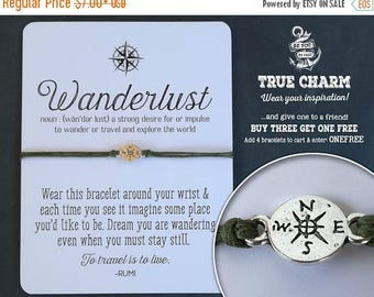 Presidents Sale Wanderlust Bracelet - Wanderlust jewelry - Not all who wander are lost - Compass bracelet  - Gift for traveler - Bon Voyage