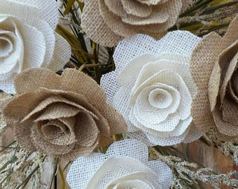 Burlap Rose With a Stem, Country Wedding, Rustic Flower, DIY Bouquet, Burlap Flower With A Stem, DIY Burlap Flower, Bouquet Filler