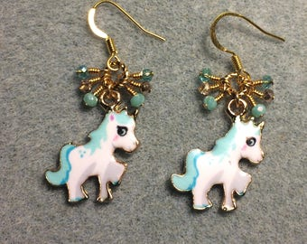 Turquoise, white and gold enamel unicorn charm earrings adorned with tiny dangling turquoise and gold Chinese crystal beads.