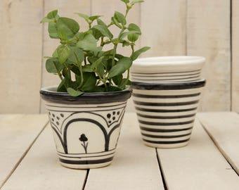 Ceramic Planter In Black and white Succulent Planter Modern