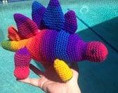 Stegosaurus Doll, Rainbow Stegosaurus, Dinosaur Doll, Dino Amigurumi, Orange Stegosaurus, Pink Stegosaurus, Green Stegosaurus, Orange Dino