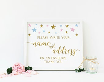Pink Blue and Gold Baby Shower, Envelope Sign, Write Your Name and Address, Address an Envelope Printable Sign, Instant Download- SG6