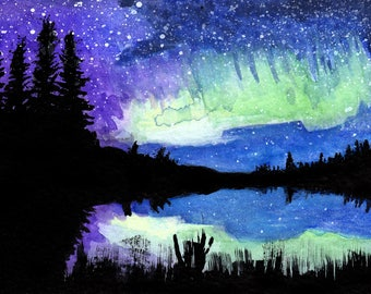"Galaxy night sky print 3. Galaxy night sky landscape signed watercolor print by Eric Boireau. These are 5x7""matted and backed to 8x10""."