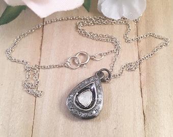 Rose Cut Pear Diamond Pendant Necklace, Pear Shaped Diamond Necklace, Diamond Pendant Necklace, Large Rose Cut Diamond Pendant Necklace