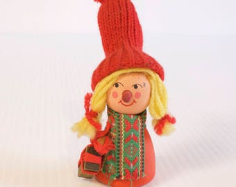 Vintage Swedish Wooden Mrs Claus  with present - Elf Girl Gnome Tomte figurine - HB Bostrom - Mid century modern